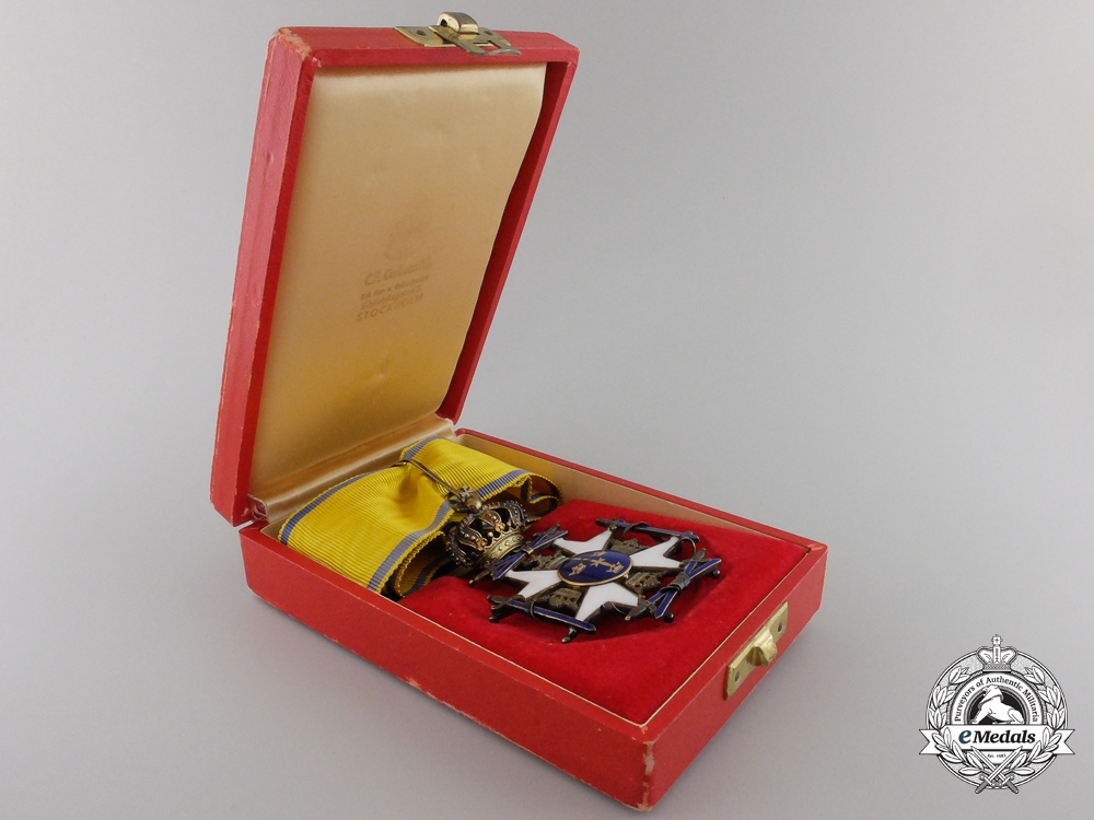 A Swedish Order of the Sword; Commander's Cross with Case