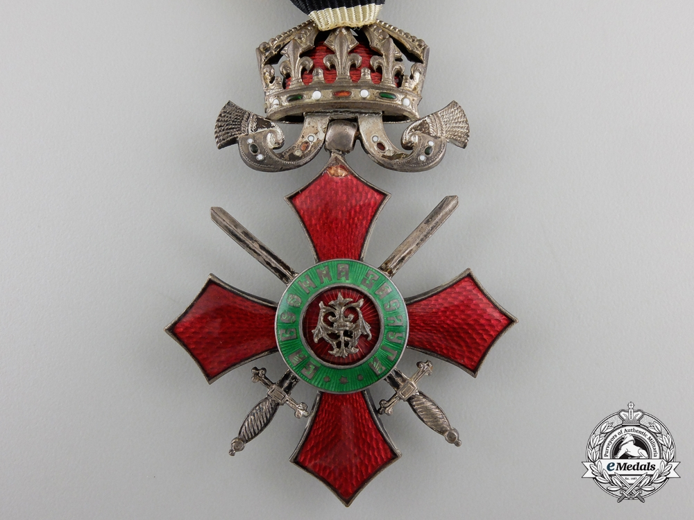 A Bulgarian Order for Military Merit, With crown and swords, Fifth Class