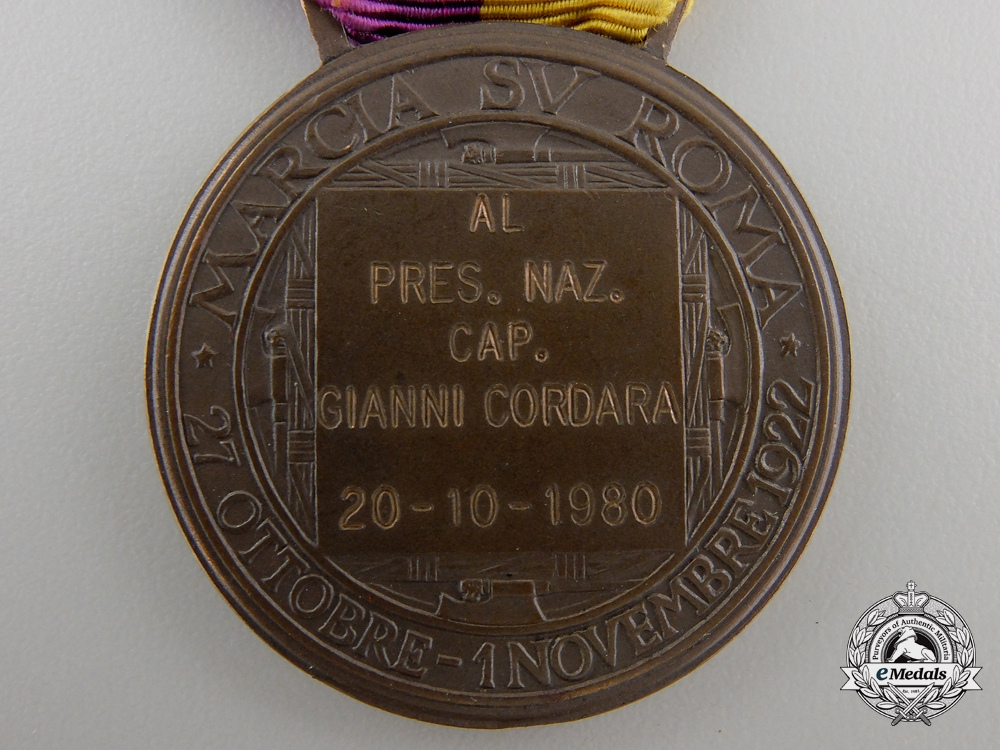 A 1922 Italian March on Rome Medal; Named