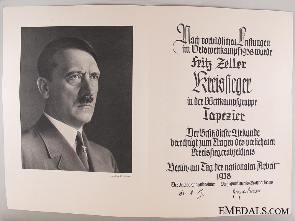 HJ Victor's Badge Award Document 1938