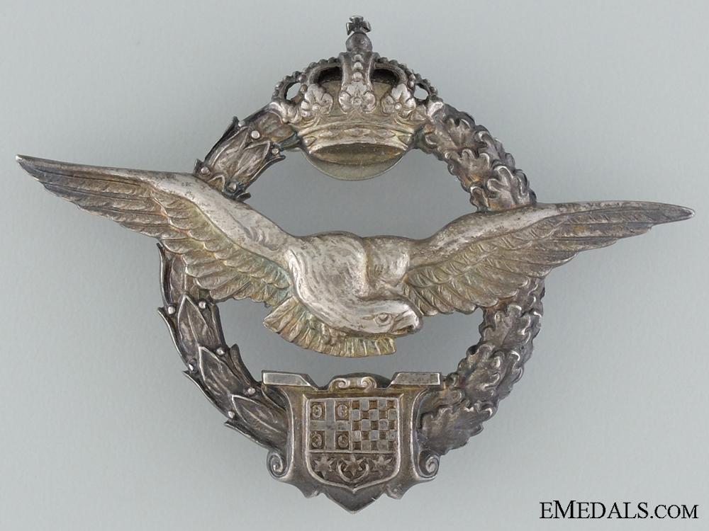 A Cased Royal Yugoslav Pilot's Badge by Kovnica Sorlini, Varaždin