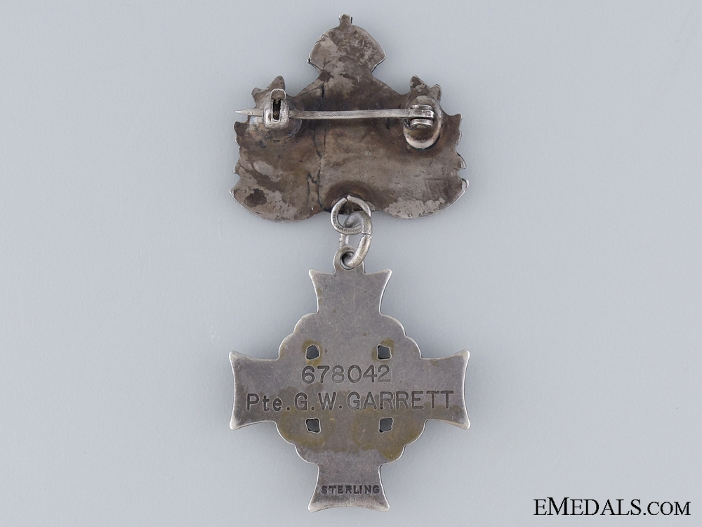 The Memorial Cross of Pte. Garrett; 1st Canadian Mounted Rifles