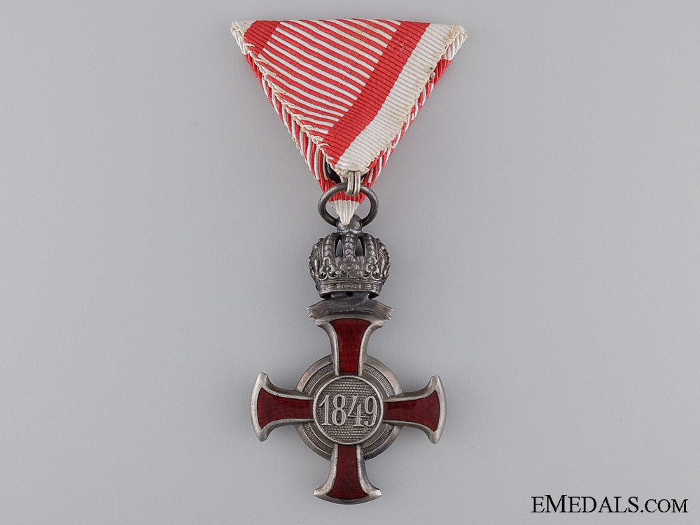 An Austrian Silver Military Merit Cross with Crown Suspension