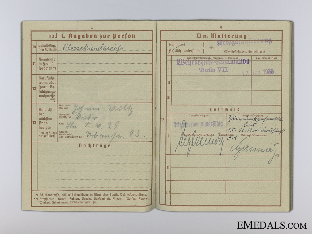 The Wehrpass & Driver's License of Martin Völtz