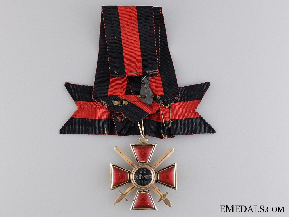 The Order of St. Vladimir with Swords in Gold; 4th Class