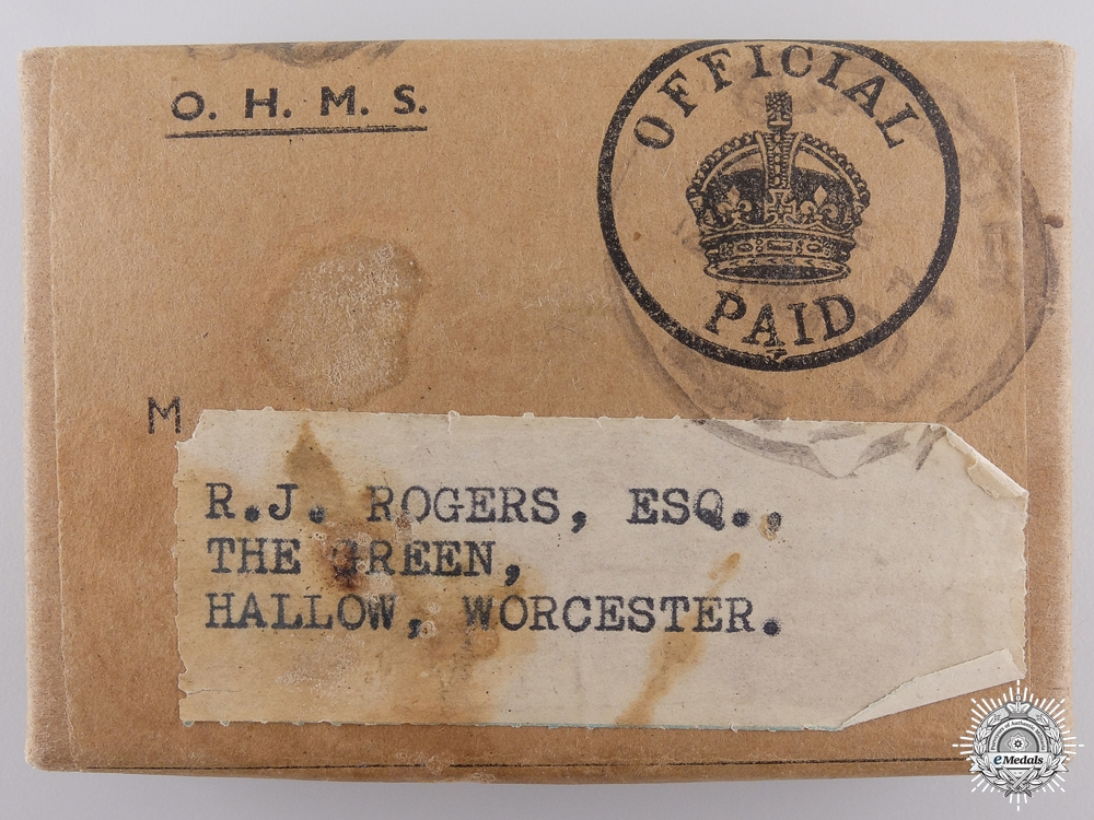 A Second War British Group to R.J. Rogers; Worcester
