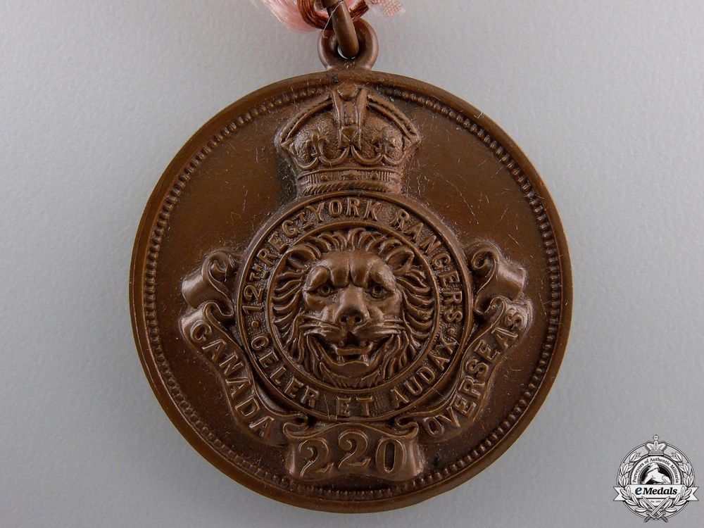 "A WWI 220th Infantry Battalion ""York Rangers"" Award Medal"