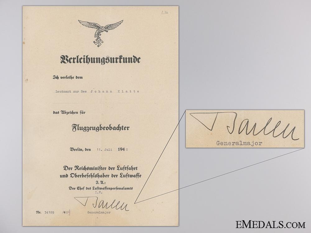 A DKG & Honor Goblet Document Group to Observer Johann Klatte