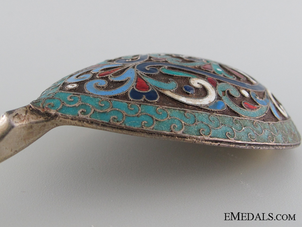 Russian Imperial Silver and Cloisonne Spoon