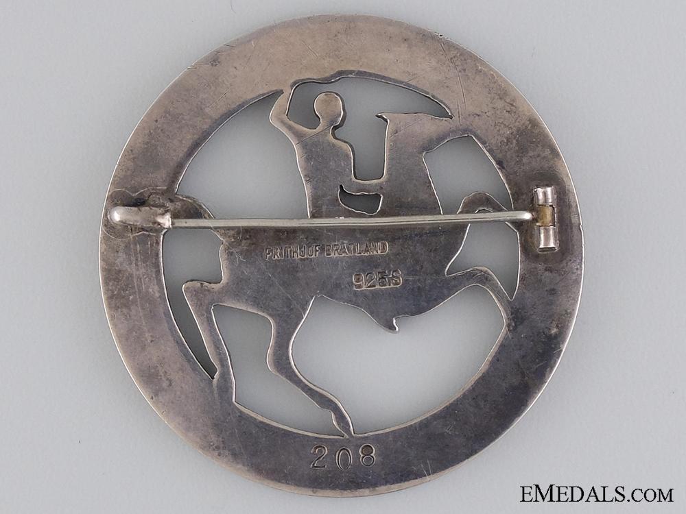 A Danish Ryttermaerke Rider's Badge; Silver Grade
