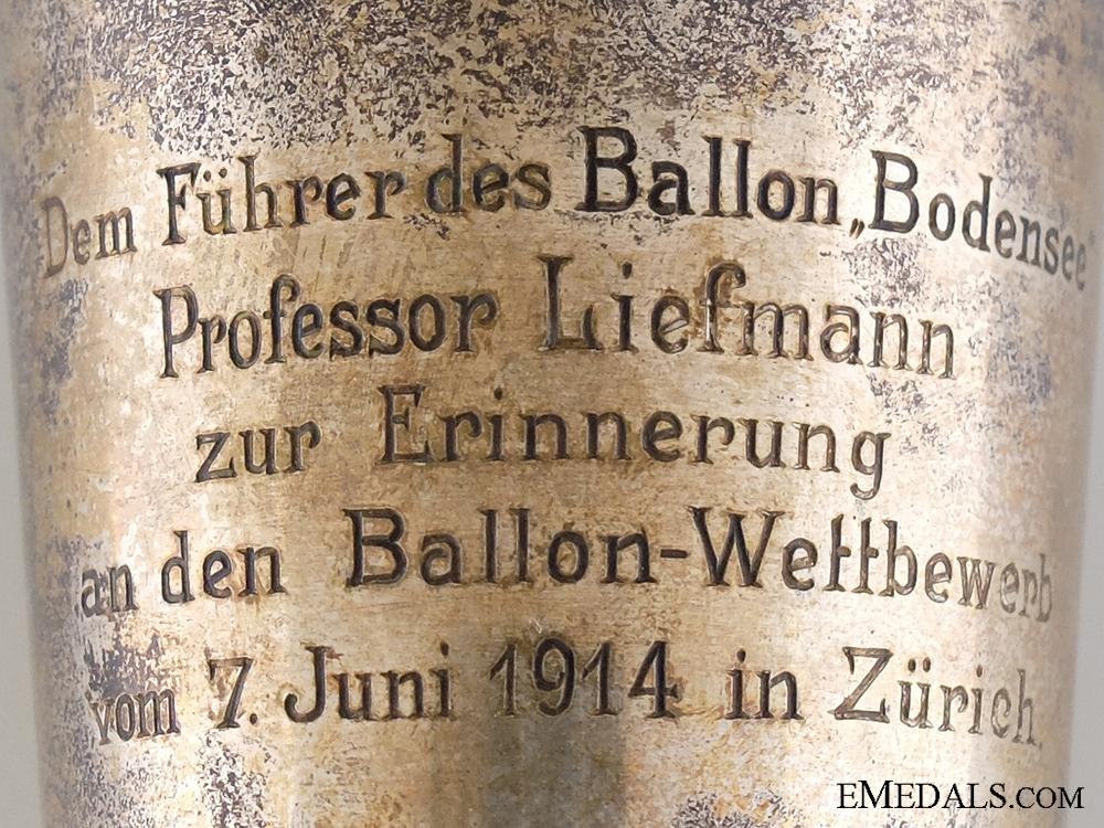 A Swiss 1914 FAI Balloon Competition Award Cup to Professor Liefmann