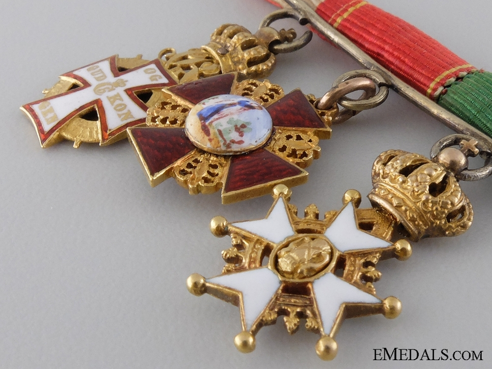 Denmark. A Fine Miniature Diplomatic Group in Gold, c.1905