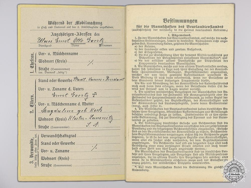A WWI Militärpaß to the 107th Reserve Infantry Regiment; Captured