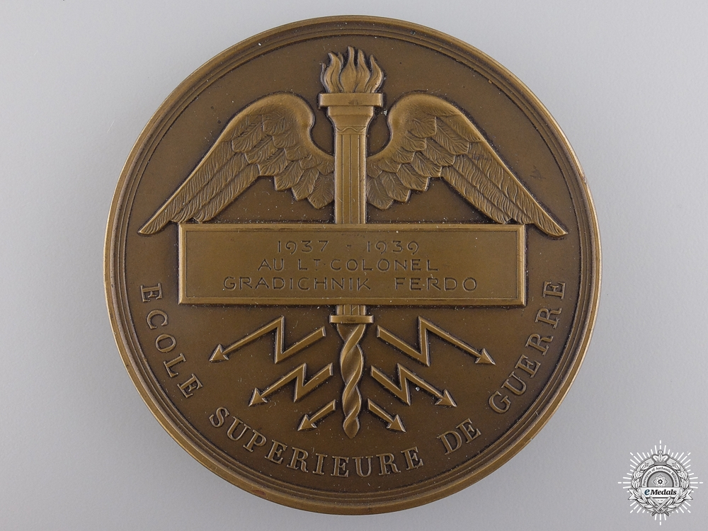 A 1937 French War School Award to Lieutenant-Colonel Gradichnik Ferdo