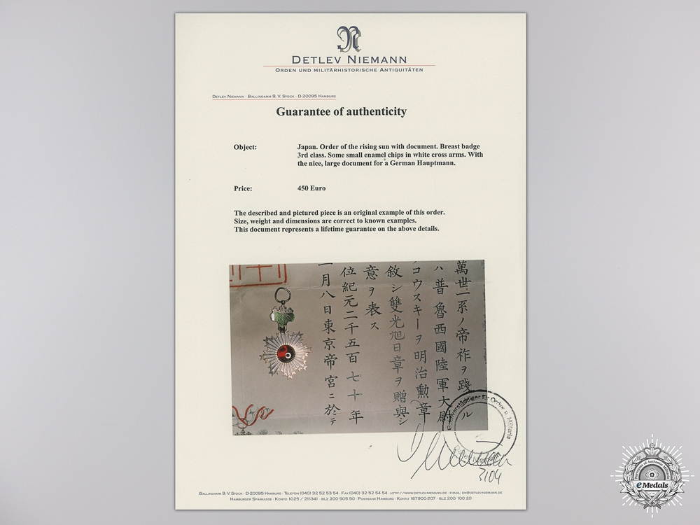 A Japanese Order of the Rising Sun with Award Document to German Hauptmann