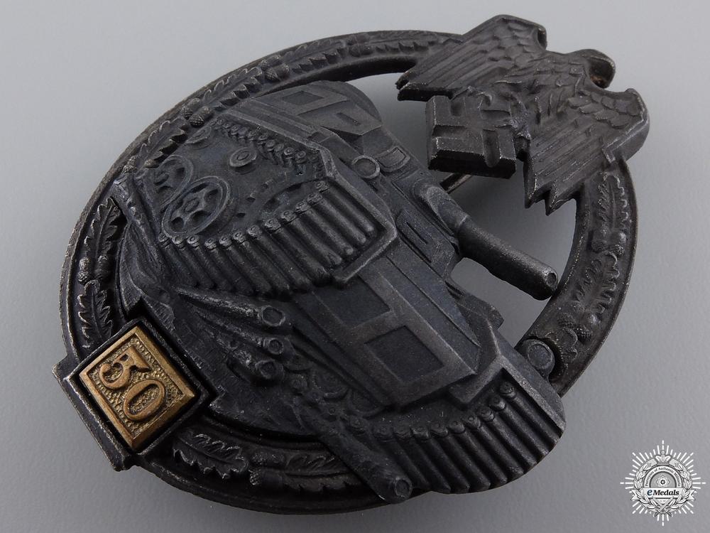 A Silver Grade Tank Badge; Special Grade 50 by Gustav Brehmer