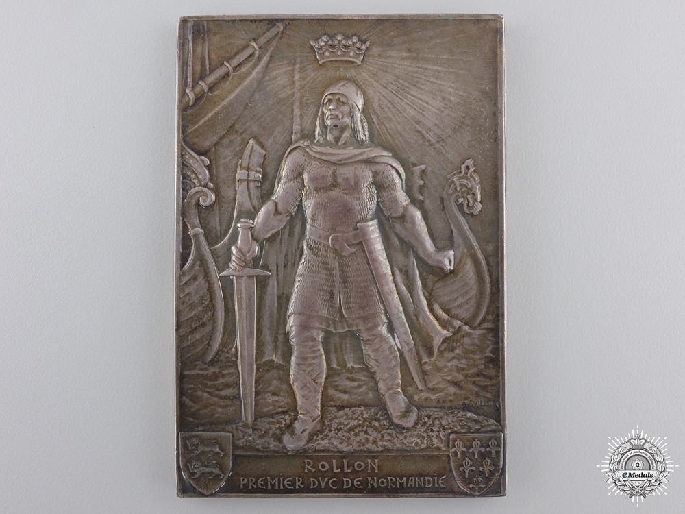 A 1911 French La Ville De Rollon Silver Plaque