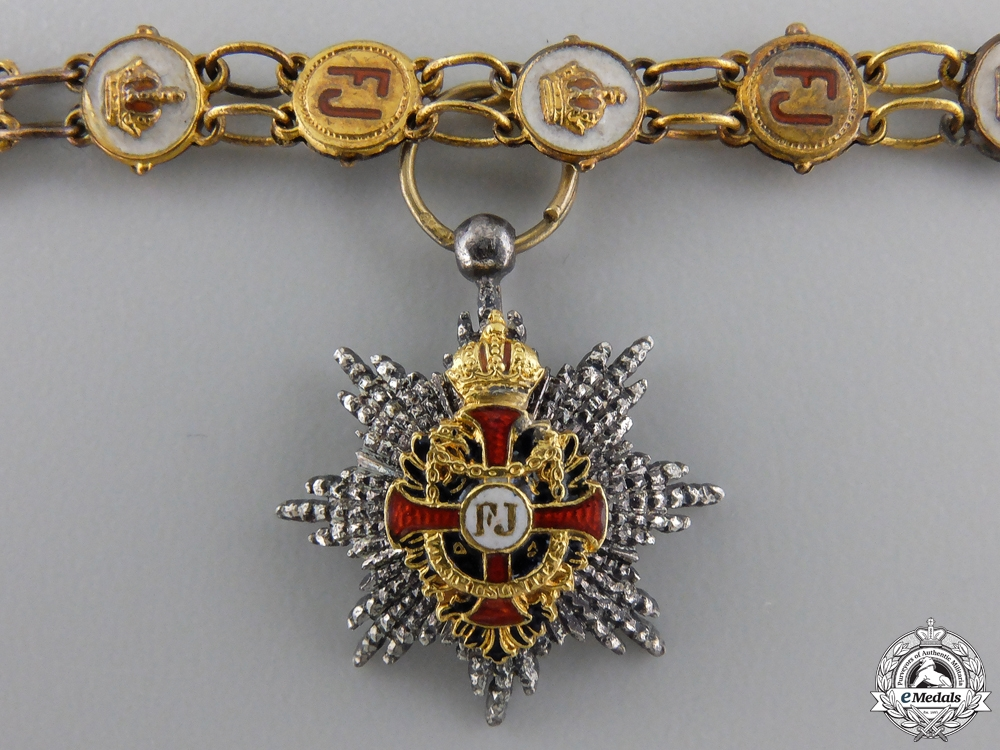 A Cased Miniature Austrian Order of Franz Joseph by Mayer, Wien
