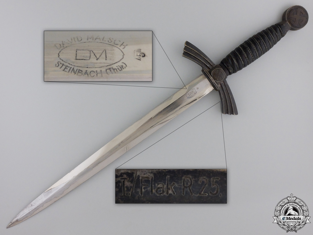 An Early 1st Model Luftwaffe Dagger by David Malsch; Unit Marked
