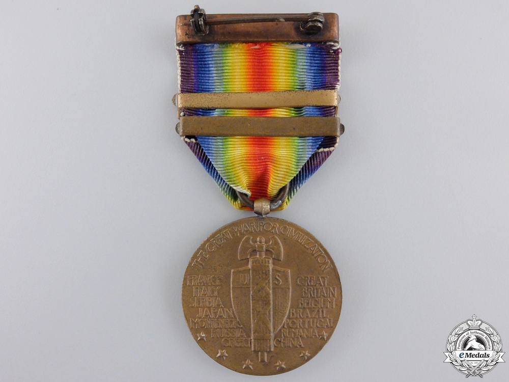A First War American Victory Medal; Three Bars & Named