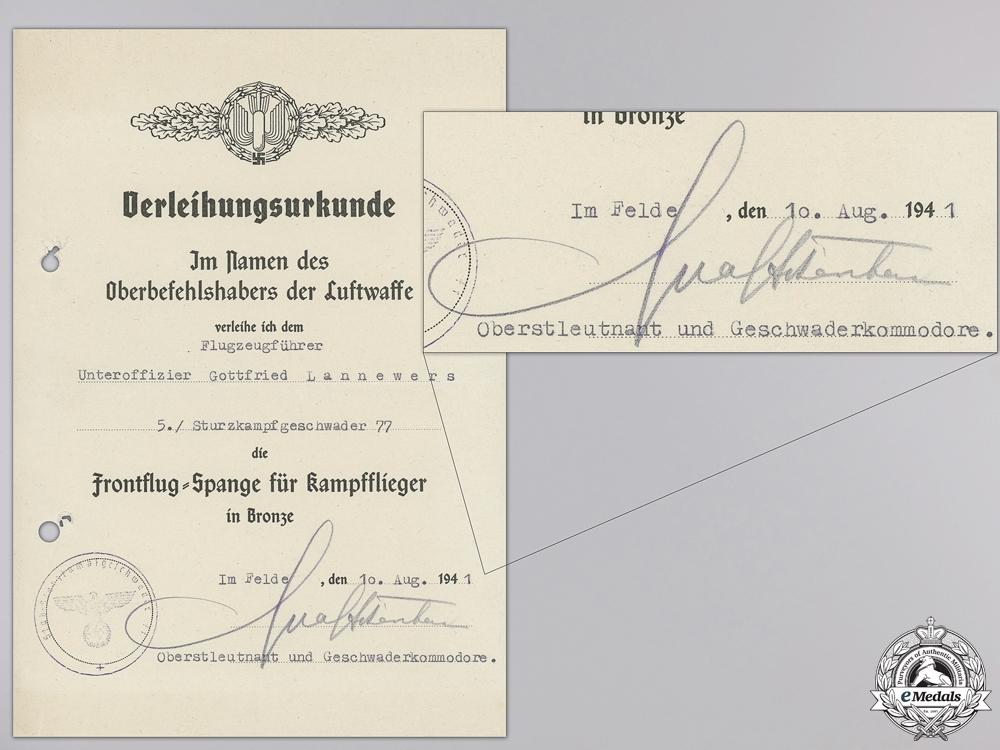 A Luftwaffe Document Group to Stuka Pilot & DKG Recipient