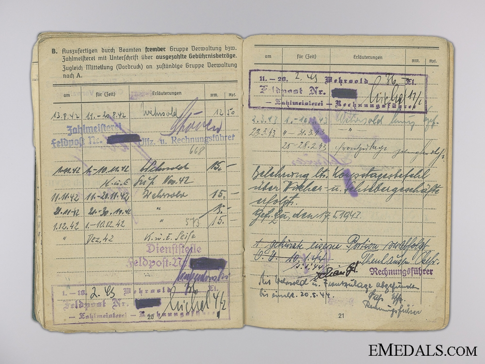 An Army Wehrpass & Luftwaffe Soldbuch to Brothers; MIA 1944
