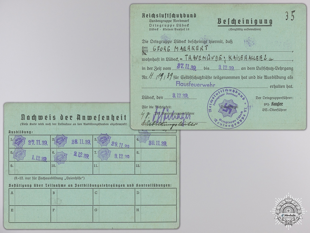 A Second War RAD & NSDAP Document Group to Maerhert Family