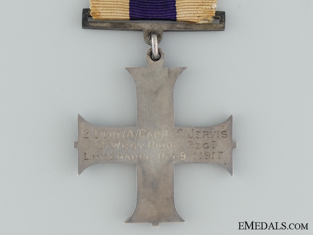 A First War Military Cross to Second lieutenant E.C. Jervis