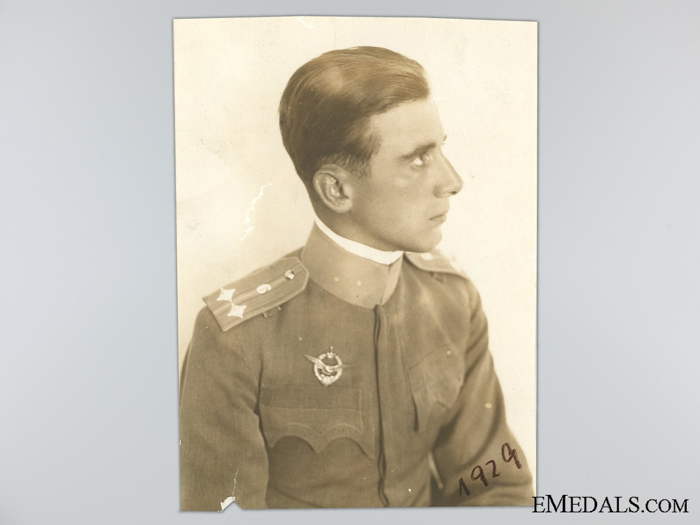A Photograph of Artur Kirasic and his French Pilot's Badge