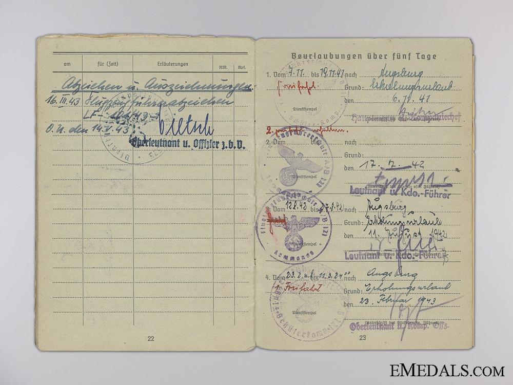 Soldbuch of Fighter Pilot Koderer; Shot Down 1943 over Croatia
