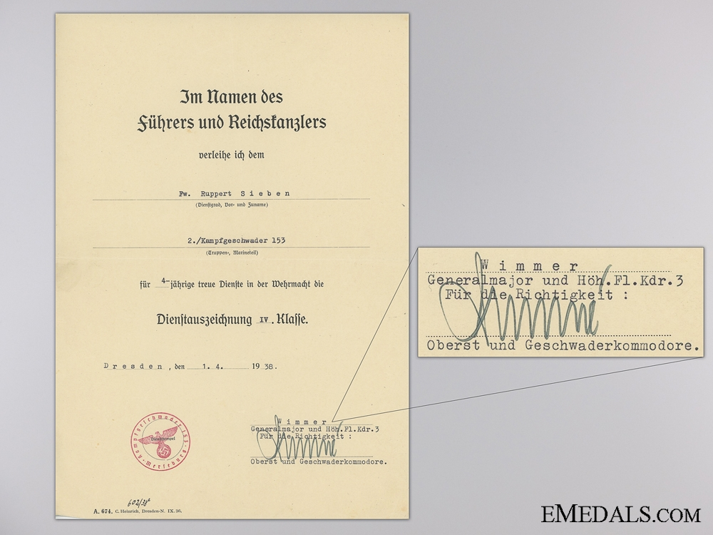 A Document Group to the Legion Condor; KIA in Russia