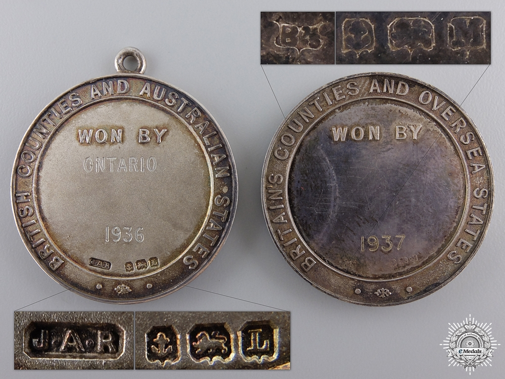Two Society Australian Rifle Clubs Award Medals; 1936 and 1937