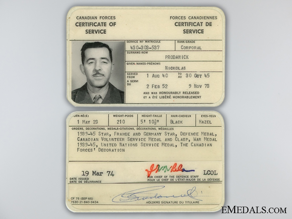 A Second War Canadian Group to Nickolas Prodanick