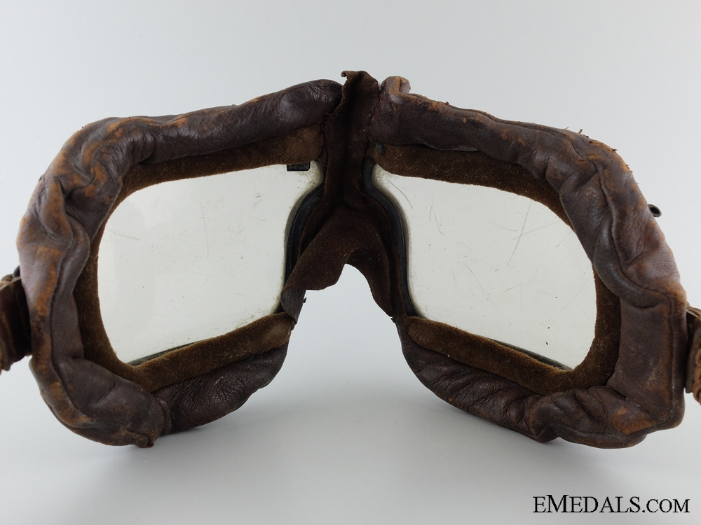 WWII RAF Veteran's Leather Helmet and Flying Goggles 1942