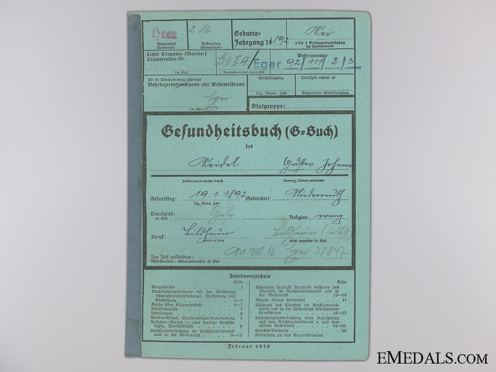 An Army Wehrpass & Records to the 847th Battalion