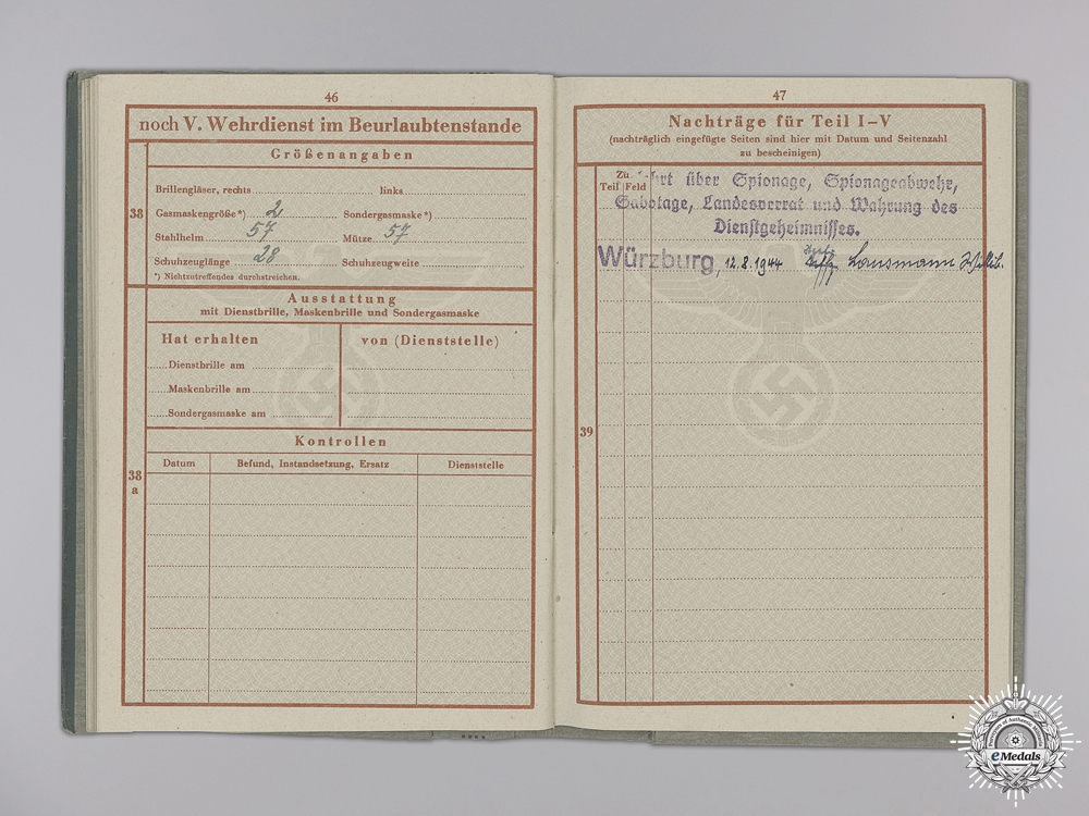 An Army Wehrpass to Unteroffizier Lausmann; 226th Regiment