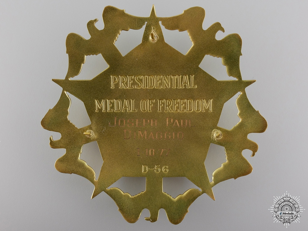 The 1977 Presidential Medal of Freedom to Joe Dimaggio