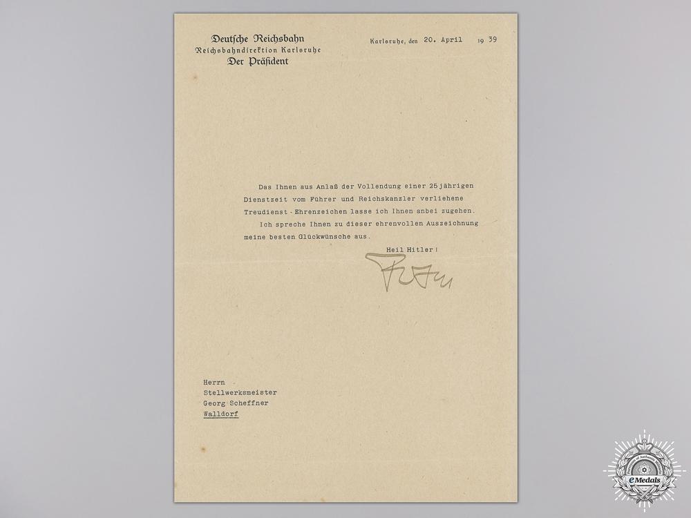A Faithful Service Award Group to the Reichsbahn