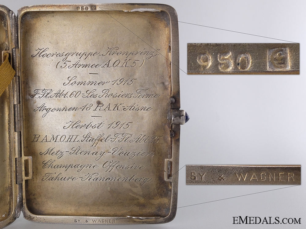 A Silver Cigarette Case by Wagner to the 25th Flying Battalion