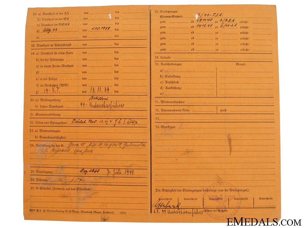 "Waffen SS ""Stamkarte"" File"