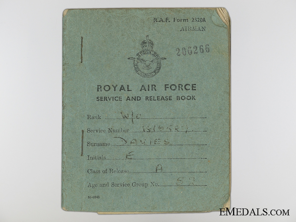 "WWII RAF Group to Air Gunner Edward ""Taffy"" Davies"