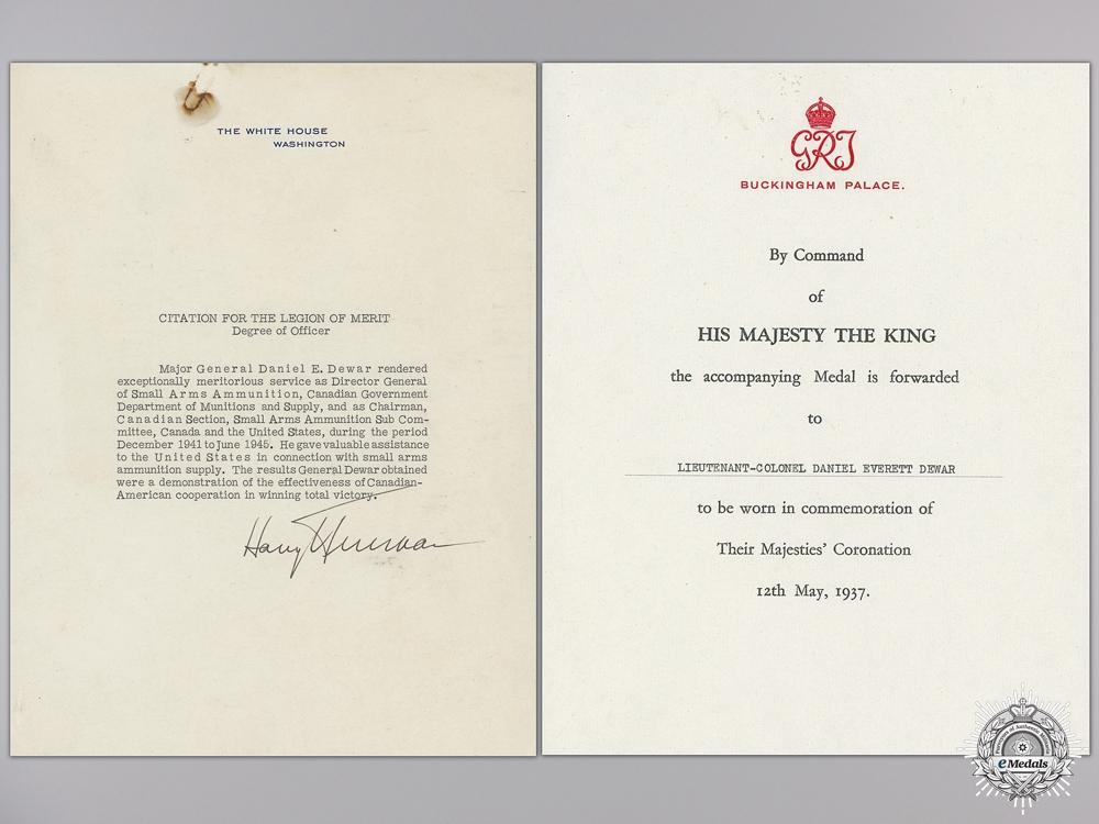 The Award of Major-General D.E.Dewar CBE CD; Canadian Army