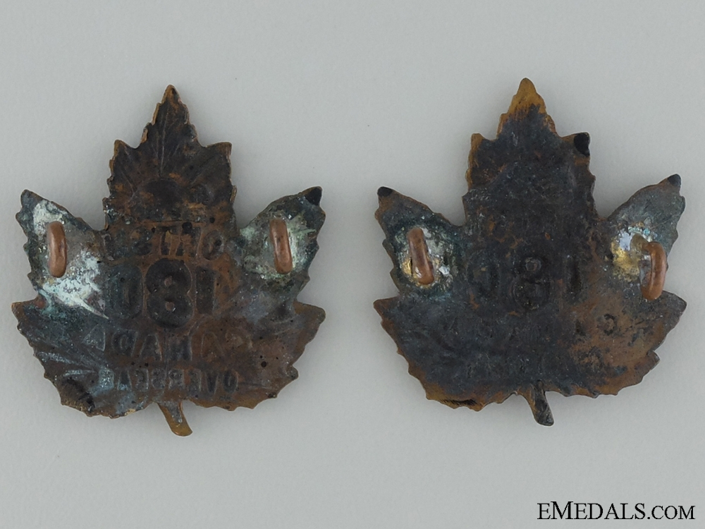 WWI 180th Infantry Battalion Collar Pair CEF