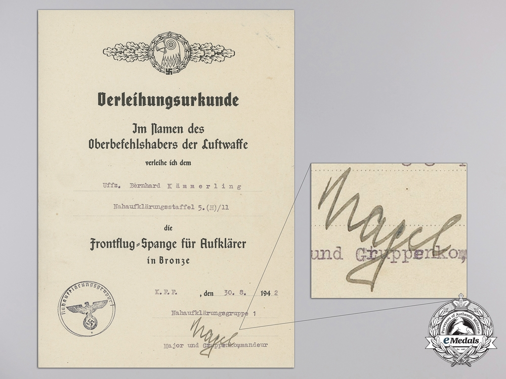 The Award Documents of Luftwaffe DKG Recipient Feldwebel Kämmerling