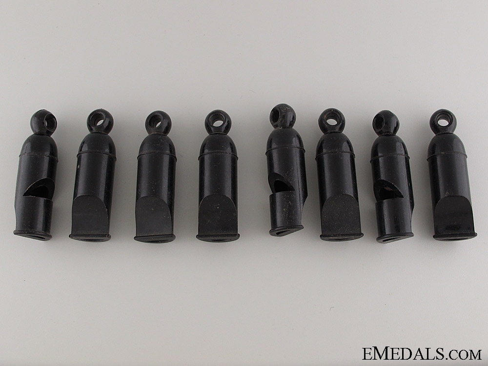 A Set of Eight Unissued HJ Whistles
