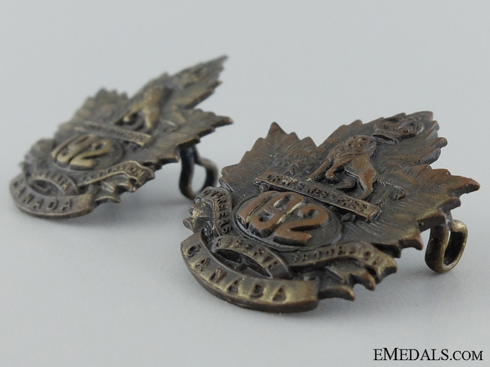 WWI 192nd Infantry Battalion Collar Badge Pair