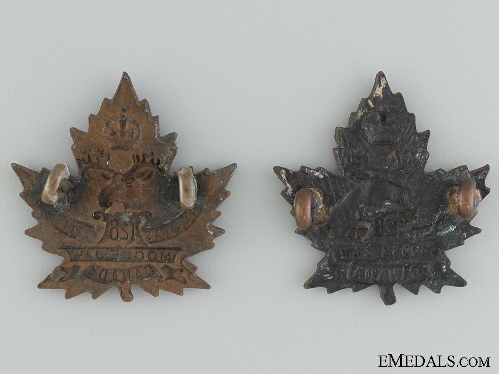 WWI 128th Infantry Battalion Collar  Badge Pair CEF