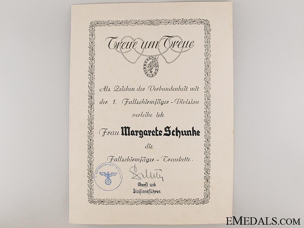 Fallschirmjäger Loyalty Chain & Certificate
