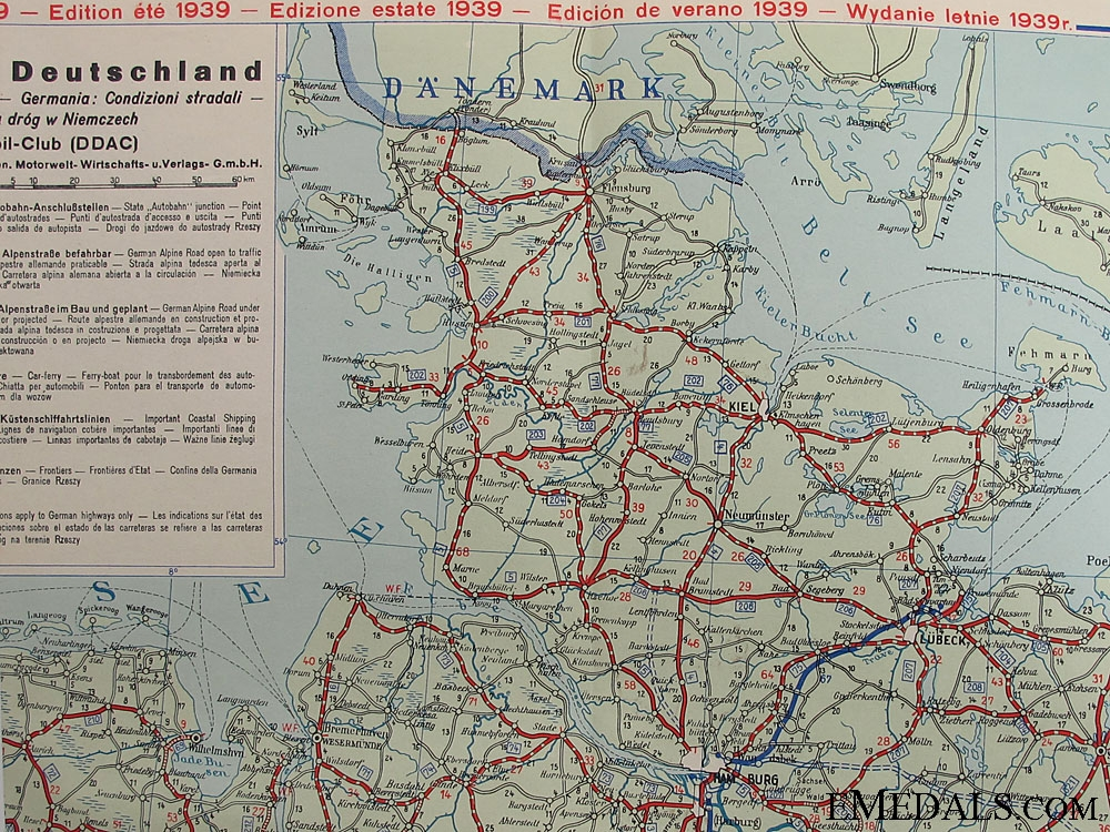 1939 Multi Language DDAC Auto Road Map