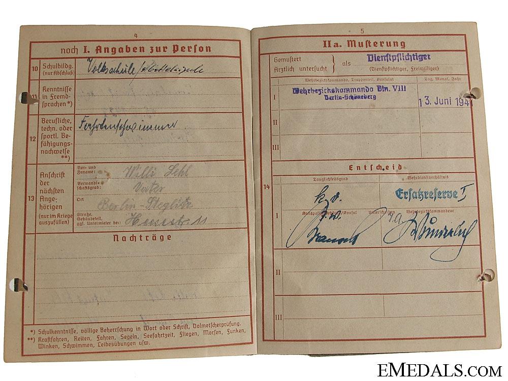 The Wehrpass for Gerhard Lehl
